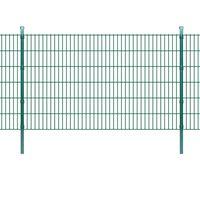 vidaXL 2D Garden Fence Panels & Posts 2008x1230 mm 20 m Green