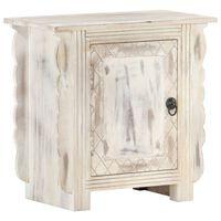 vidaXL Bedside Cabinet White 50x30x50 cm Solid Mango Wood