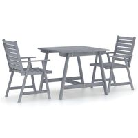 vidaXL 3 Piece Garden Dining Set Grey Solid Acacia Wood
