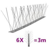 vidaXL 5-row Stainless Steel Bird & Pigeon Spikes Set of 6 3 m