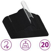 vidaXL 20 pcs Clothes Hanger Set Anti-slip Black Velvet