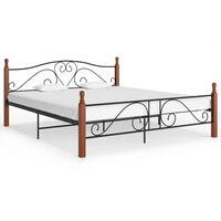 vidaXL Bed Frame Black Metal 180x200 cm