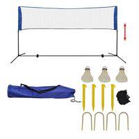 vidaXL Badminton Net Set with Shuttlecocks 300x155 cm