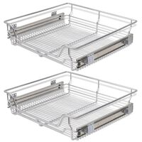 vidaXL Pull-Out Wire Baskets 2 pcs Silver 600 mm