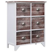 vidaXL Side Cabinet with 6 Drawers Brown 60x30x75 cm Paulownia Wood