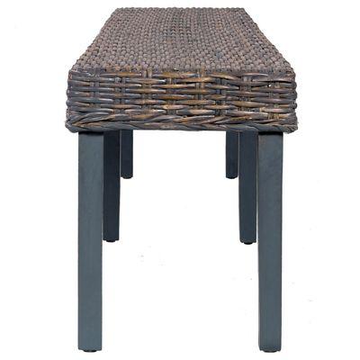 vidaXL Bench 160 cm Grey Natural Kubu Rattan and Solid Mango Wood