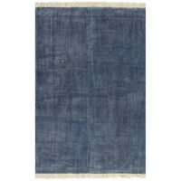 vidaXL Kilim Rug Cotton 160x230 cm Blue