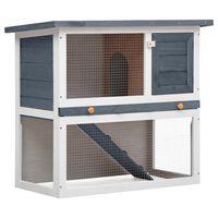 vidaXL Outdoor Rabbit Hutch 1 Door Grey Wood