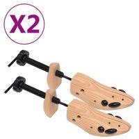 vidaXL Shoe Trees 2 Pairs Size 36-40 Solid Pine Wood
