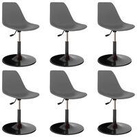 vidaXL Swivel Dining Chairs 6 pcs Light Grey PP