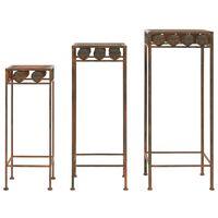 vidaXL Plant Stand Set 3 Pieces Vintage Style Metal Rusty