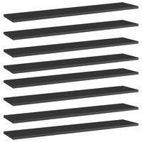 vidaXL Bookshelf Boards 8 pcs High Gloss Black 100x20x1.5 cm Chipboard