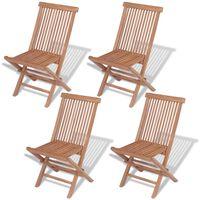 vidaXL Folding Garden Chairs 4 pcs Solid Teak Wood