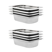 vidaXL Gastronorm Containers 8 pcs GN 1/4 65 mm Stainless Steel