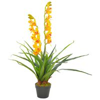 vidaXL Artificial Plant Orchid with Pot Yellow 90 cm