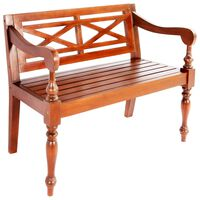 vidaXL Batavia Bench 98 cm Solid Mahogany Wood Dark Brown