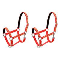 vidaXL Head Collars 2 pcs for Horse Nylon Size Pony Red