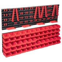 vidaXL 136 Piece Storage Bin Kit with Wall Panels Red and Black