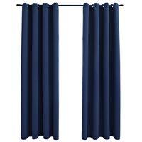 vidaXL Blackout Curtains with Metal Rings 2 pcs Blue 140x175 cm