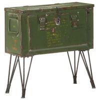 vidaXL Storage Trunk Military Style 68x24x66 cm Iron