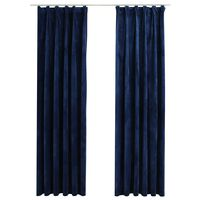 vidaXL Blackout Curtains 2 pcs with Hooks Velvet Dark Blue 140x225 cm