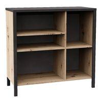 FMD Dresser with 5 Open Compartments Artisan Oak Steel Dark