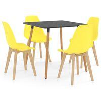 vidaXL 5 Piece Dining Set Yellow