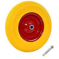 vidaXL Wheelbarrow Wheel with Axle Solid PU 4.00-8 390 mm