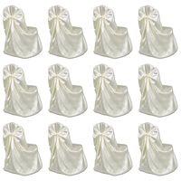 vidaXL Chair Cover for Wedding Banquet 12 pcs Cream