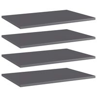 vidaXL Bookshelf Boards 4 pcs High Gloss Grey 60x40x1.5 cm Chipboard