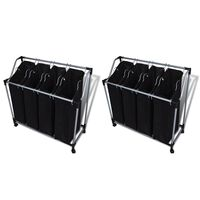 vidaXL Laundry Sorters with Bags 2 pcs Black and Grey