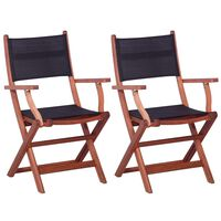 vidaXL Outdoor Chairs 2 pcs Black Solid Eucalyptus Wood and Textilene