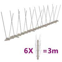 vidaXL 2-row Plastic Bird & Pigeon Spikes Set of 6 3 m