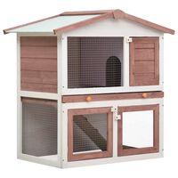 vidaXL Outdoor Rabbit Hutch 3 Doors Brown Wood