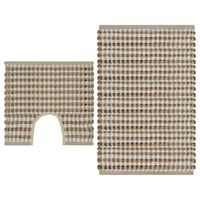 vidaXL Hand-Woven Jute Bathroom Mat Set Fabric Natural and White