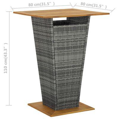 vidaXL Bar Table Grey 80x80x110 cm Poly Rattan and Solid Acacia Wood