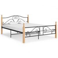 vidaXL Bed Frame Black Metal 140x200 cm