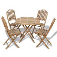 vidaXL 5 Piece Folding Outdoor Dining Set Bamboo