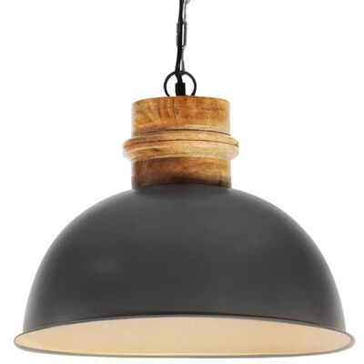 vidaXL Industrial Hanging Lamp Grey Round 42 cm E27 Solid Mango Wood