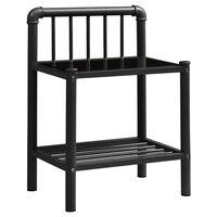 vidaXL Bedside Cabinet Black 45x34.5x62.5 cm Metal and Glass