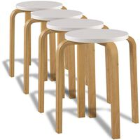 vidaXL Bar Stools 4 pcs White Bent Wood