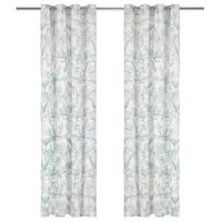 vidaXL Curtains with Metal Rings 2 pcs Cotton 140x245 cm Green Floral