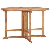 vidaXL Folding Garden Dining Table Ø120x75 cm Solid Teak Wood