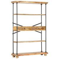 vidaXL 4-Tier Bookshelf 120x35x180 cm Solid Mango Wood and Steel