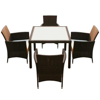 vidaXL 5 Piece Outdoor Dining Set with Cushions Poly Rattan Brown