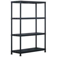 vidaXL Storage Shelf Rack Black 220 kg 90x40x138 cm Plastic
