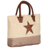 vidaXL Shopper Bag Beige 32x10x37.5 cm Canvas and Real Leather