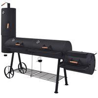 vidaXL BBQ Charcoal Smoker with Bottom Shelf Black Heavy XXXL
