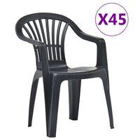 vidaXL Stackable Garden Chairs 45 pcs Plastic Anthracite