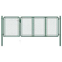 vidaXL Garden Gate Steel 100x350 cm Green